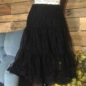 Black mid length sheer skirt